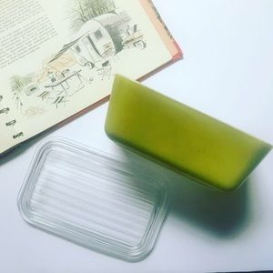 Vintage 1960s Pyrex Casserole Dish Yellow Green